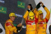 Sean Gelael, Antonio Giovinazzi dan Tom Blomqvist urutan kedua pada kejuaraan ketahanan mobil dunia FIA WEC di Sirkuit Shanghai, Minggu. (seangp)